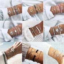 Fashion Bohemian Shell Heart Bracelet Set Crystal Multilayer Bangle Womens Gift Vintage Bracelets Wedding Party