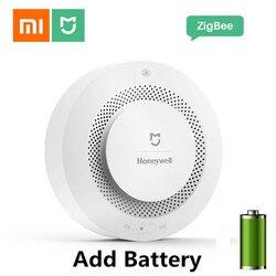 Xiaomi mijia casa honeywell incêndio detector de fumaça controle remoto audível notificação alarme visual trabalho para mihome app