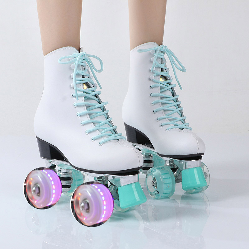 New Style Adult Double-row Skating Adult Women's Four-wheel Kraft PU Flash Roller Skates