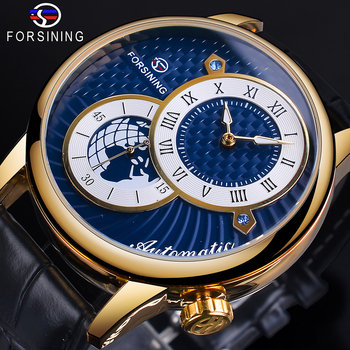 Forsining Hemisphere Dial Design Automatic Watch Waterproof Blue Black Luminous Hand Mechanical Watch Genuine Leather Band Clcok leisure automatic mechanical genuine leather waterproof watch with rome digital business for various occasions m172s brown