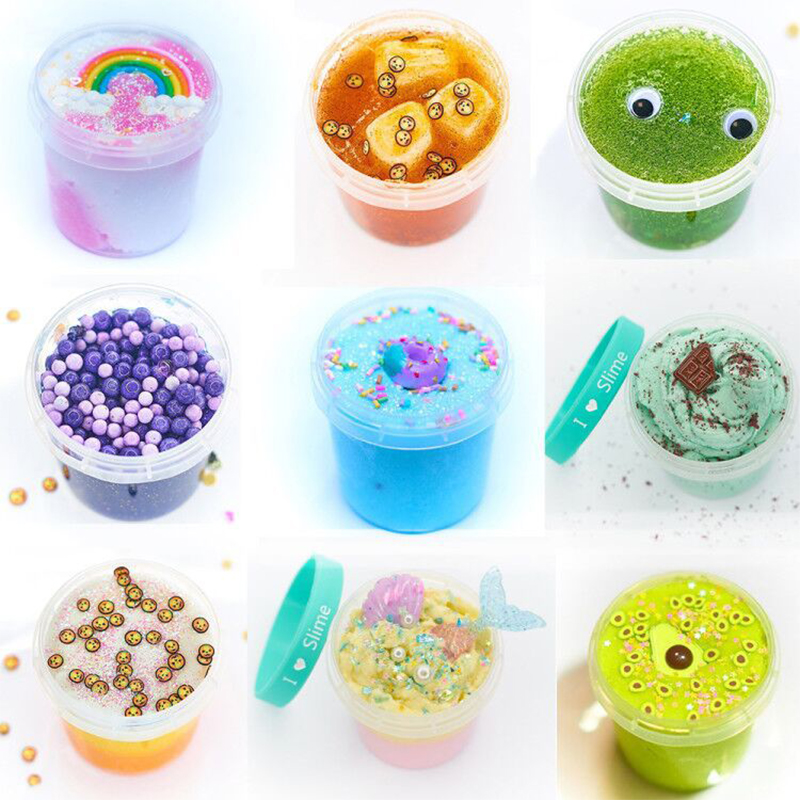 New Colorful Cartoon Charms Slime Fluffy Crystal Fruit Filler Plasticine Toys DIY Kit Rainbow Snow Cloud Mud Decompression Toys