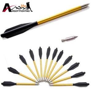 "Image 3 - 60pcs/Pack Shooting Arrows Outdoor Hunting Aluminum Bolt Arrow 6.5"" Length Arrow Archery for 50lb/80lb Crossbow Accurate Arrow"