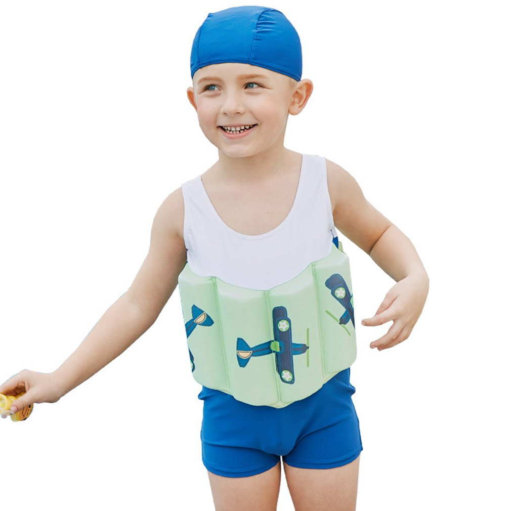 Boy Buoyancy Swimsuit White Green Blue Ntl007 Children'S Swimwear Buoyancy Surfing Siamese Hot Spring Floating Beach Swimsuit
