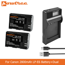 цена на POWTREE 2800mAh LP-E6 LPE6 LP E6 Camera Battery+LED Charger for Canon 5D Mark II Mark III EOS6D 7D 60D 60Da 70D 80D L50