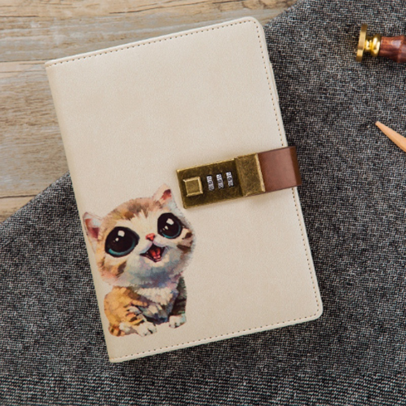 B6 Cute Notepad Notebook Secret Diary Memos Planner Agenda Notebook Pu Leather Sketchbook With Lock Office School Student Pass