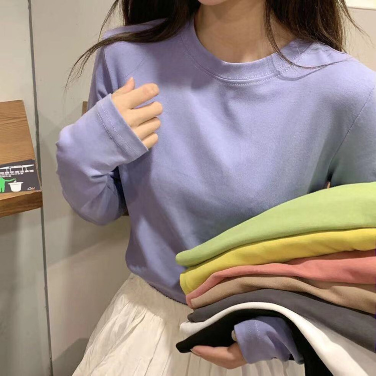 8 Colors Women O-neck Soft Full Sleeve Basic T-Shirts Lady Simple Tshirt Tops Tees For Women DX5232