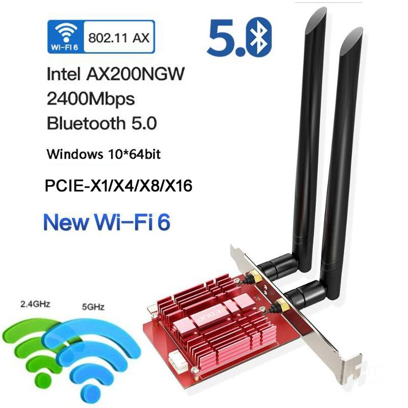 PCIE Wifi6 802.11ax <font><b>AX200</b></font> Wireless Network 160Mhz 5G Wi-Fi 6 Card Dual Band Adapter For 2400Mbps <font><b>Intel</b></font> AX200NGW NGFF M.<font><b>2</b></font> BT5.0 image