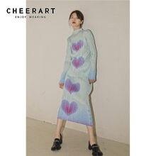 CHEERART – chemisier à manches longues et col roulé pour femme, haut vert froncé, dégradé, imprimé cœur, hauts coréenne, printemps 2021