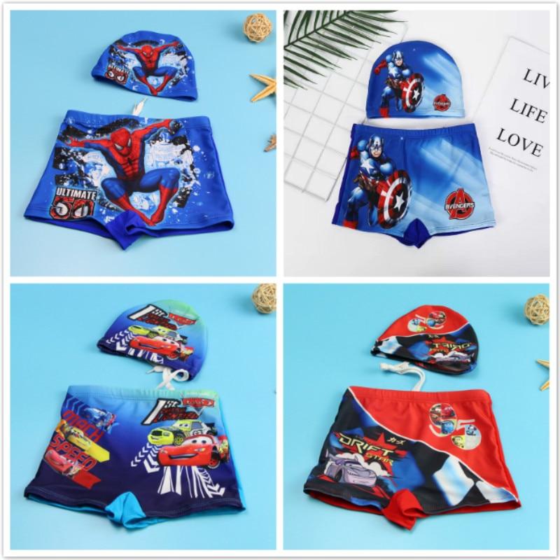 Baby Boy Swimwear Pants Cap Set Kid Swimsuit Summer Shorts Cartoon Spiderman Pixar Cars Captain America Children Swimming Trunks