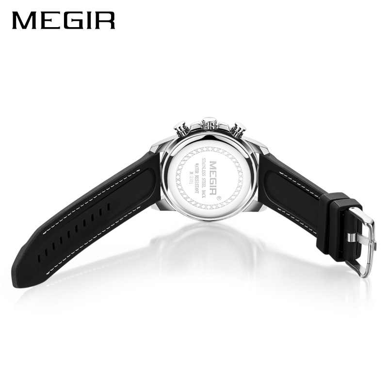 Relogio Masculino MEGIR חדש ספורט הכרונוגרף סיליקון Mens שעונים למעלה מותג יוקרה קוורץ שעון עמיד למים גדול חיוג שעון גברים