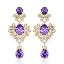 VERY GIRL Noble Shiny Purple/Green Zircon Drop Earrings For Women Luxury Brincos Wholesale