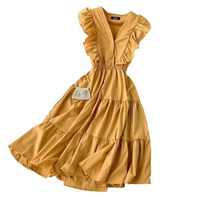 2020 femmes robes De mode col en v volants sans manches drapé genou longueur robe dames rétro décontracté ballon Vestidos De Fiesta