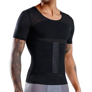 Мужская футболка для коррекции живота, компрессионный жилет для коррекции фигуры, сжигания жира, груди и живота