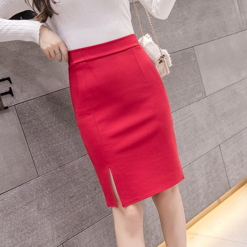 2020 New Fashion Women Office Formal Pencil Skirt Spring Summer Elegant Slim Front Slit Midi Skirt Black/Gray/Red OL Skirts