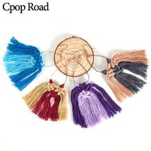 Cpop Boho Colorful Handmade Weave Macrame Earring Ethnic Cotton Thread Tassel Earrings Bridesmaid Jewelry Women Accessories Gift