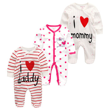 0-12Months Baby Rompers Newborn Girls&Boys 100%Cotton Clothes of Long Sheeve 1/2/3Piece Infant Clothing Pajamas Overalls Cheap - Baby Rompers RFL3710, 12M