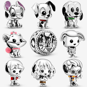 100% 925 Sterling Silver Pluto Lilo & Stitch Charm Fit pandora bracelet Aristocats Marie 101 Dalmatians Patch Charm DIY jewelry(China)