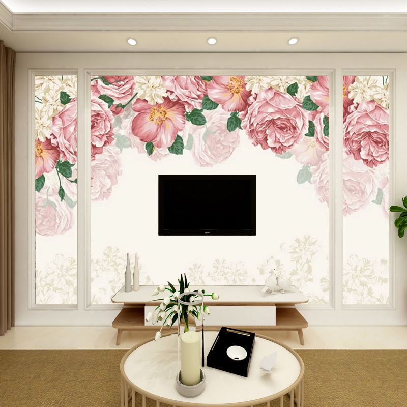 Simple Warm Marriage House Wallpaper Hand-Painted Flower Living Room Television Background Wall Wallpaper French Pastoral Large