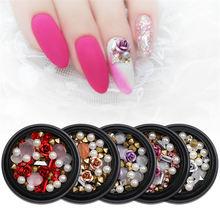 Смешанные стили стразы для дизайна ногтей жемчуг 3d украшения