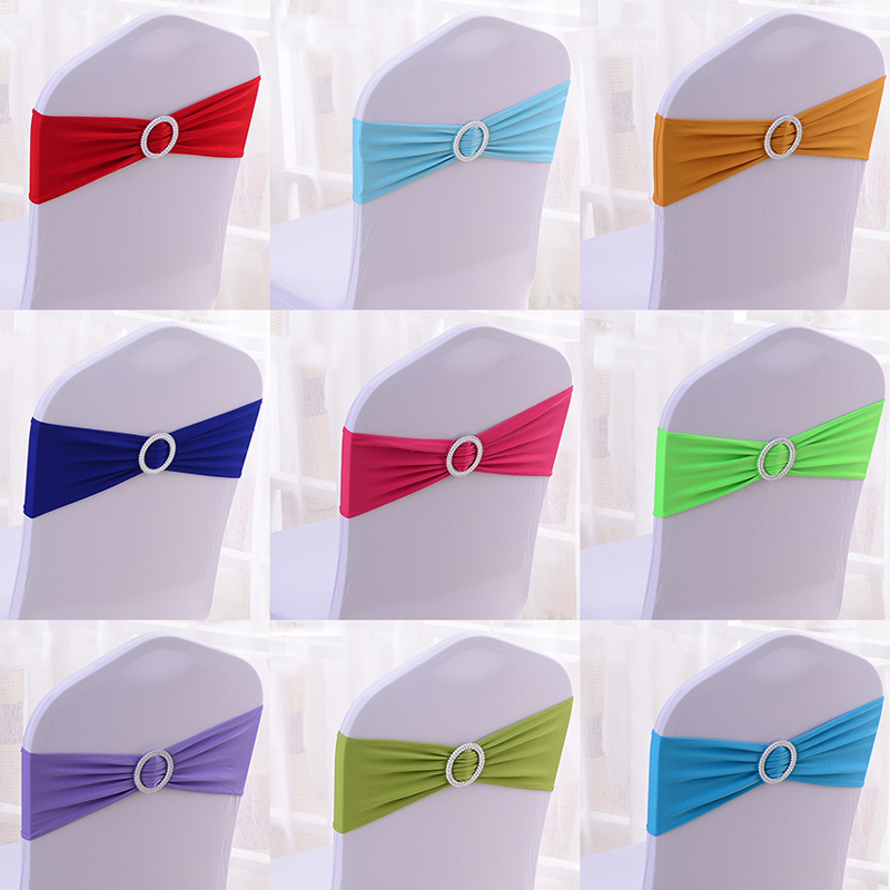 100Pcs With Round Buckle Banquet Chair Bow Tie Hotel Event Wedding Decoration Chair Sash Stretch Spandex Lycra Chair Sash Bands