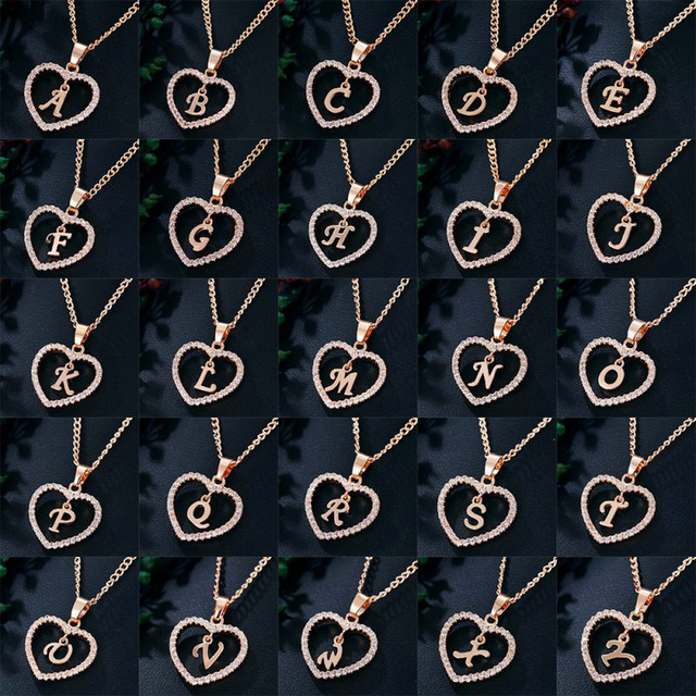 Womens Jewelry Name Initials Heart Pendant Necklace 26 Letters Zircon Love Necklaces Girls Gifts the First Letter Accessories 2
