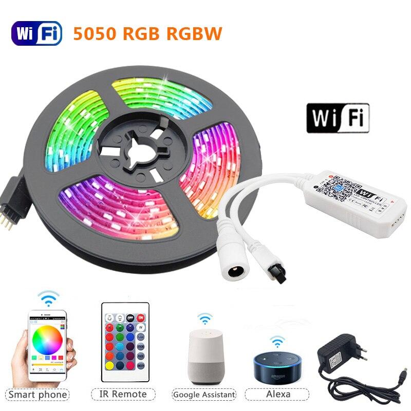 5 м 10 м 15 м RGBW/RGBWW Светодиодные ленты светильник RGB 5050 водить 60leds Luces светодиодный светильник полосы DC12V гибкая лента IR WiFi Contoller + адаптер ЕС