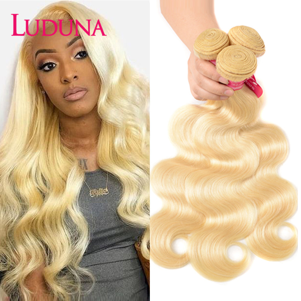Mechones de pelo brasileño Rubio Luduna 613 mechones de ondas corporales 1/3/4 ofertas de extensiones 100% cabello humano para mujer Remy extensión de cabello