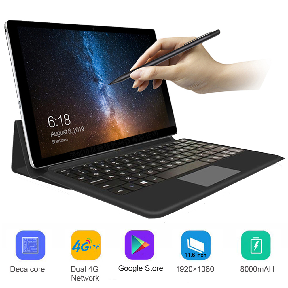 11.6 Inch Drawing Tablet Laptop 4G LTE Android Tablet 2 In 1 Tablet With Keyboard MT6797 Sim Card Metal Tablet With Gps Wifi