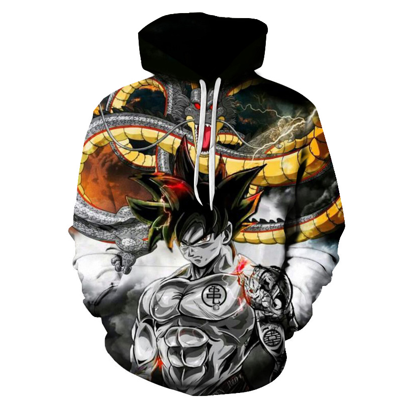 Anime Dragon Ball Super Hoodie Male 3D Sweatshirts Super Saiyan Goku Printed Outwear Teen Boy Cartoon Hoody Pullover