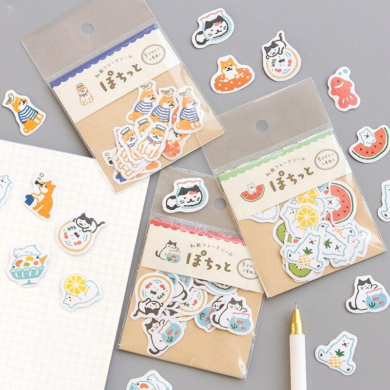 20pcs/Pack Cute Polar Bear Cat Akita Stickers Hand Account Decor Notebook Decorative Sticker Stick Label Kids Gift 5 Designs