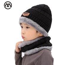 Модная детская теплая вязаная шляпа, комплект из 2 предметов, шарф, наконечник стрелы, бархатный утепленный шарф, милая детская шляпа
