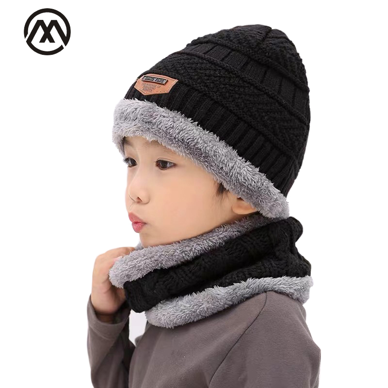 Fashion Children's Warm Knit Hat Set Scarf Arrow Cap Boy Bean Plus Velvet Thickening 2 Piece Set Scarf Cute Baby Bonnet