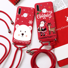 Phone Case For Huawei Honor P40 P30 P20 Pro Lite Fashion Lanyard Christmas Phone Case For 10i 20i 9X 9C 9A 9S 8X P Smart Cover(China)