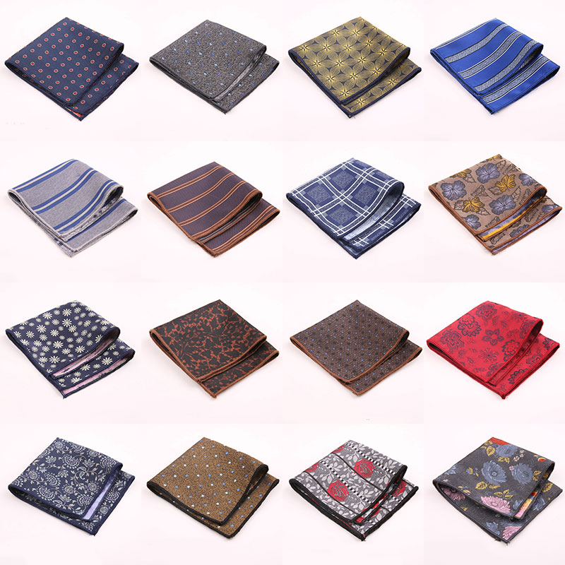 New Designer Pocket Square Fashion Handkerchief Dot Paisley Floral Plaid Style Hanky Mens Suit Pocket Accessories