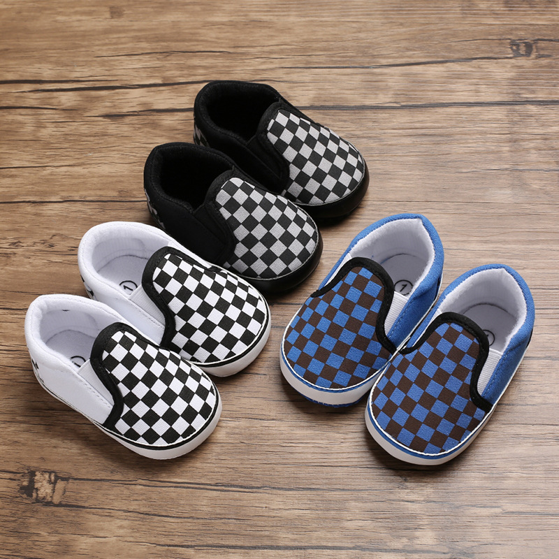 Spring And Autumn 0-1 Years Old Baby Black And White Plaid Casual Set Of Shoes Soft Bottom Shoes Baby Fashion Toddler Shoes
