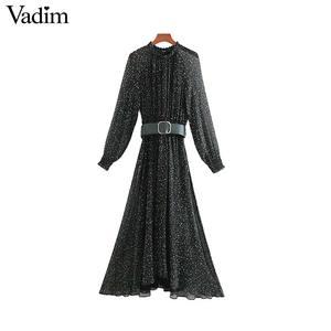 Image 1 - Vadim femmes élégant imprimé robe midi à manches longues taille élastique ceinture conception femme décontracté confortable mi mollet robes vestidos QD149