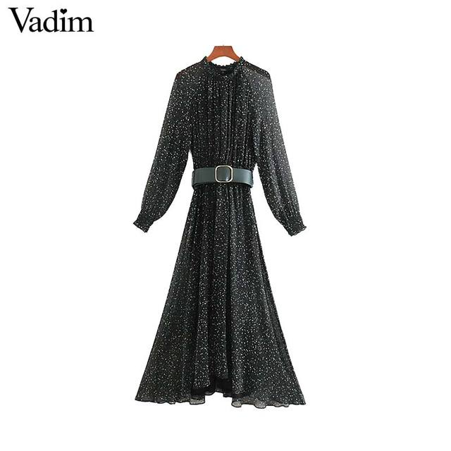 Vadim femmes élégant imprimé robe midi à manches longues taille élastique ceinture conception femme décontracté confortable mi mollet robes vestidos QD149