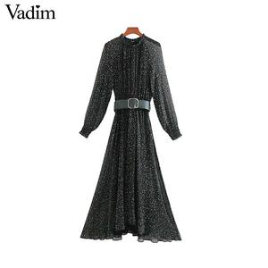 Image 1 - Vadim נשים אלגנטי הדפסת midi שמלה ארוך שרוול אלסטי מותניים חגורה עיצוב נקבה מקרית מפנק אמצע עגל שמלות vestidos QD149