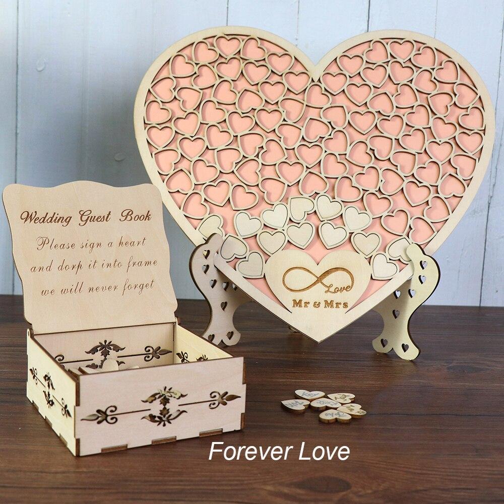 Heart Shape Wedding Guest Book Decoration Rustic Pink Sweet Heart Drop Box Wedding Drop Box 3D Guestbook With Wooden Box