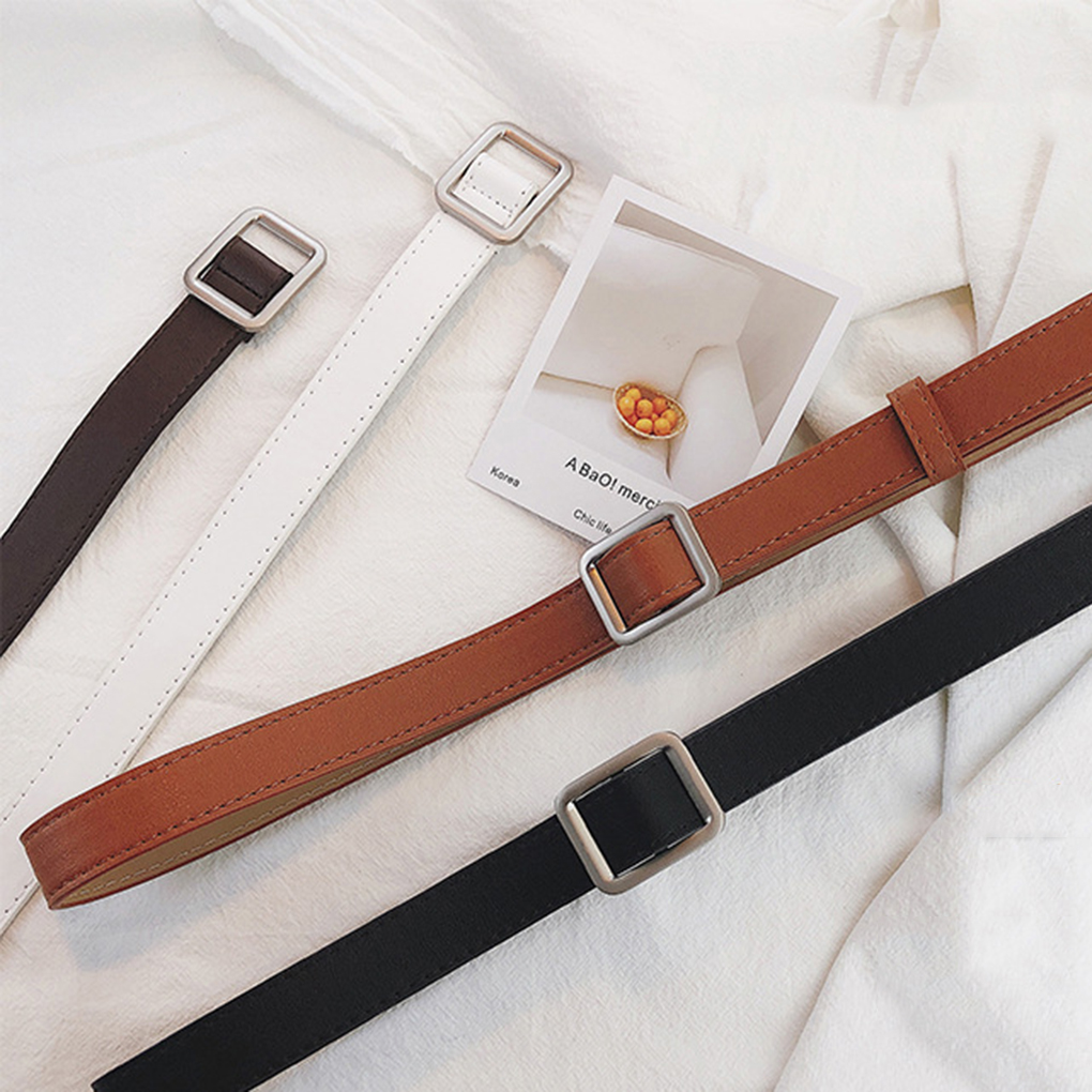 Square Fashion Waistband Belt Without Holes  Buckle Retro Women Leather Belt Girl Imitation Leather Vintage Ladies Coffee Black