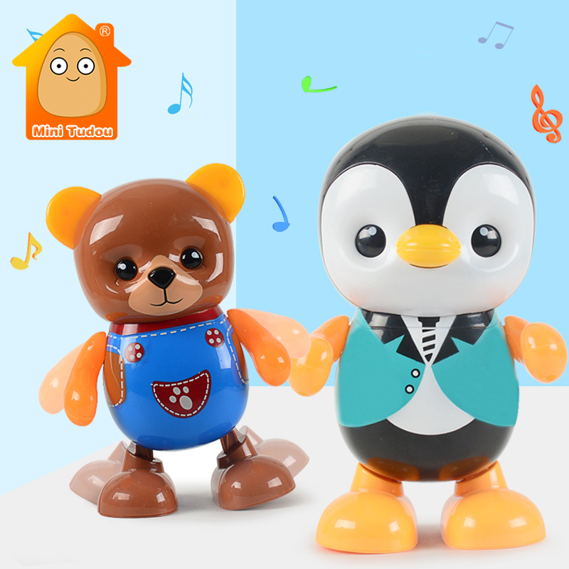 Kids Dance Robot Toy Plastic Cute Cartoon Walking Animal Electric Musical Light Shake Doll Early Educational Toys For Children