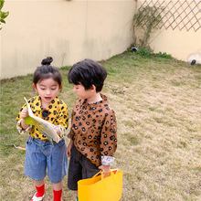 Spring new Korean style unisex kids fashion leopard shirts 2-7 years boys and girls cotton casual long sleeve Tops clothes