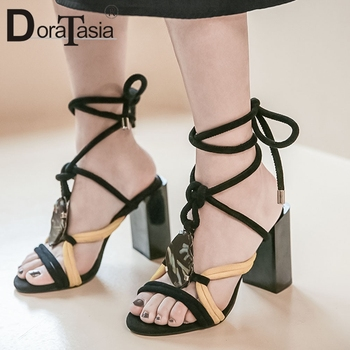 DORATASIA Fashion Ladies Kid Suede Sandals Mixed Color Sandals Women Round Toe High Heels Ankle Strap Brand Shoes Woman