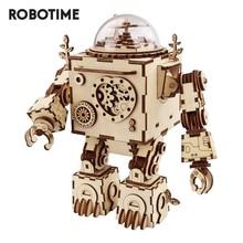 Robotime Steampunk DIY Robot ahşap saat müzik kutusu dekorasyon hediye AM601