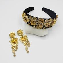 2019 Luxury New Exclusive European Retro Baroque Sun Flower Carved Catwalk Headband Tiara Earrings Set
