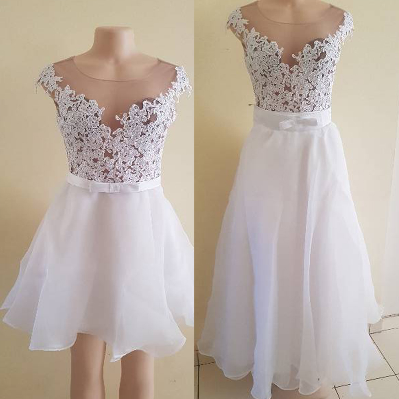 2020 New 2 in 1 Detachable Train Wedding Dress Princess Elegant Lace Appliques Vestido De Noiva 2 in 1 Ball Gown Bridal Gowns