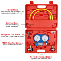 Carbole R134a Auto Manifold Guage Set Kit with Couplers Adapters R22 R404A R410A Refrigeration Charging Service 4 Reading