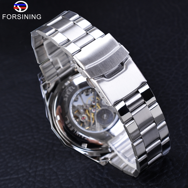 Forsining 2019 Stainless Steel Waterproof Mens Skeleton Watches Top Brand Luxury Transparent Mechanical Sport Male Wrist Watches 6
