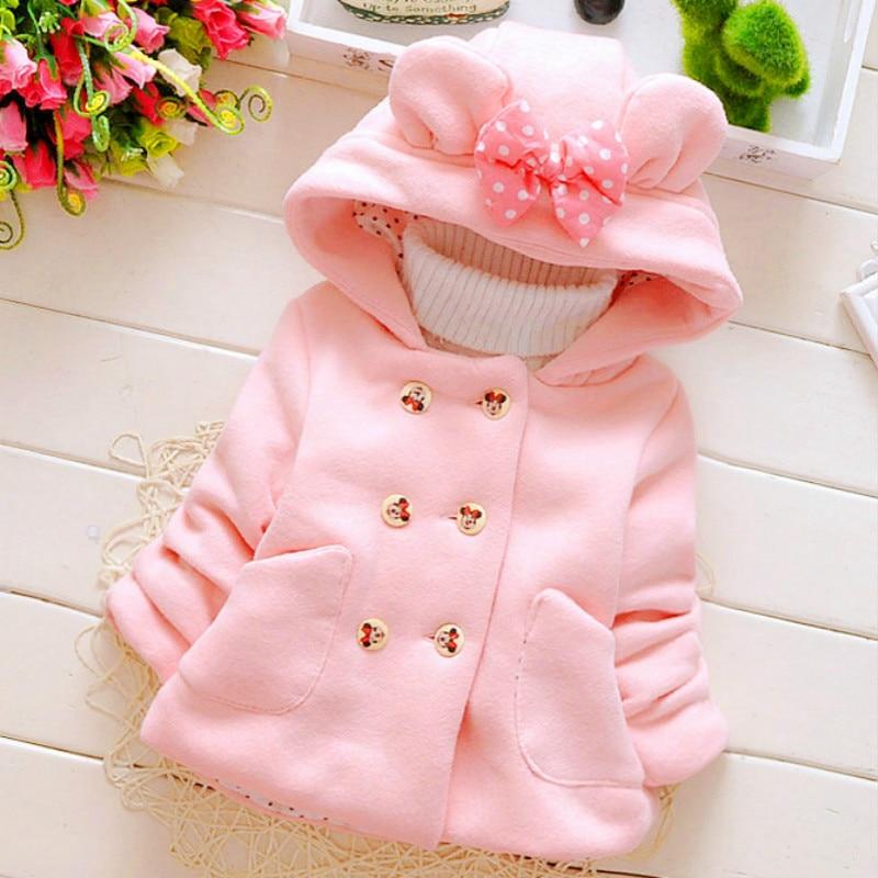 Bebek kız ceket yenidoğan sonbahar üstleri çocuklar sıcak tutan kaban bebek kulak Hoodies pamuk bebe giyim çocuk giyim.