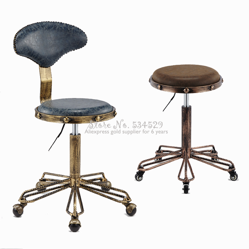 25%Height Adjustable Nail Embroidery Chairs With High Elastic Sponge Retro Bronze Barber Chair Rotate Lift Beauty Stools